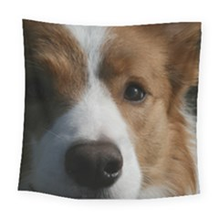 Red Border Collie Square Tapestry (Large)