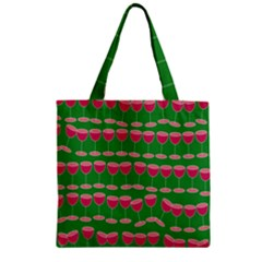 Wine Red Champagne Glass Red Wine Zipper Grocery Tote Bag
