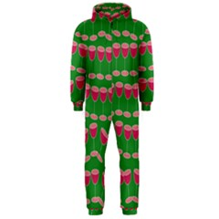 Wine Red Champagne Glass Red Wine Hooded Jumpsuit (Men)