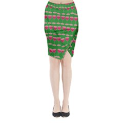 Wine Red Champagne Glass Red Wine Midi Wrap Pencil Skirt