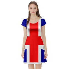 Union Jack Flag Short Sleeve Skater Dress