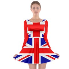 Union Jack Flag Long Sleeve Skater Dress