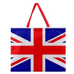 Union Jack Flag Zipper Large Tote Bag