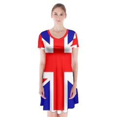 Union Jack Flag Short Sleeve V Neck Flare Dress