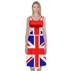 Union Jack Flag Midi Sleeveless Dress