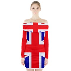 Union Jack Flag Long Sleeve Off Shoulder Dress