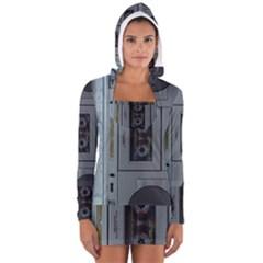 Vintage Tape Recorder Women s Long Sleeve Hooded T-shirt
