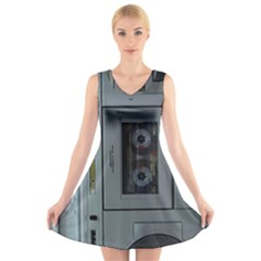 Vintage Tape Recorder V Neck Sleeveless Skater Dress