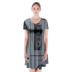 Vintage Tape Recorder Short Sleeve V-neck Flare Dress