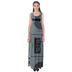 Vintage Tape Recorder Empire Waist Maxi Dress