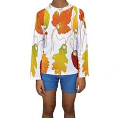 Vector Beautiful Maple Leaf Kids  Long Sleeve Swimwear