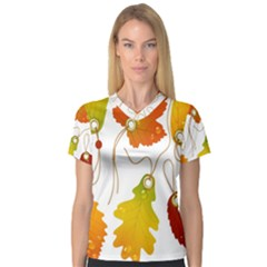 Vector Beautiful Maple Leaf Women s V Neck Sport Mesh Tee