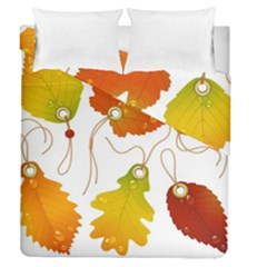 Vector Beautiful Maple Leaf Duvet Cover Double Side (queen Size)