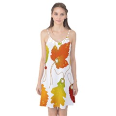 Vector Beautiful Maple Leaf Camis Nightgown