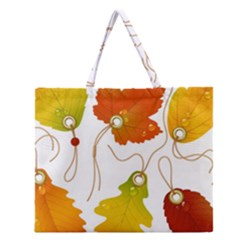 Vector Beautiful Maple Leaf Zipper Large Tote Bag