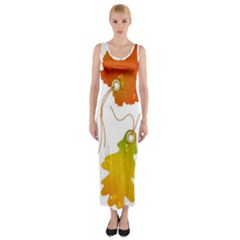 Vector Beautiful Maple Leaf Fitted Maxi Dress
