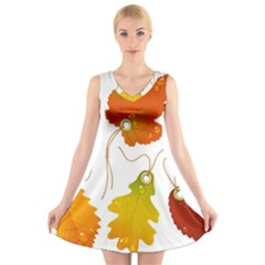 Vector Beautiful Maple Leaf V Neck Sleeveless Skater Dress