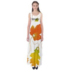 Vector Beautiful Maple Leaf Empire Waist Maxi Dress