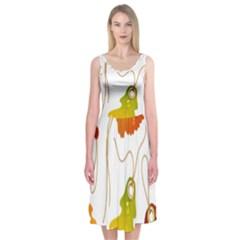 Vector Beautiful Maple Leaf Midi Sleeveless Dress