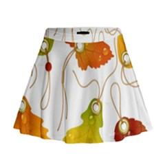 Vector Beautiful Maple Leaf Mini Flare Skirt