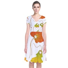 Vector Beautiful Maple Leaf Short Sleeve Front Wrap Dress