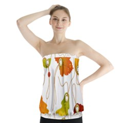 Vector Beautiful Maple Leaf Strapless Top