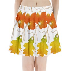 Vector Beautiful Maple Leaf Pleated Mini Skirt