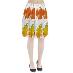 Vector Beautiful Maple Leaf Pleated Skirt