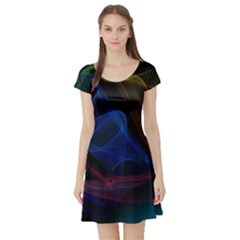 Lines Rays Background Light Pattern Short Sleeve Skater Dress