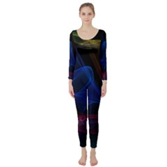 Lines Rays Background Light Pattern Long Sleeve Catsuit