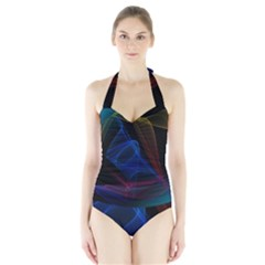 Lines Rays Background Light Pattern Halter Swimsuit
