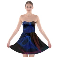 Lines Rays Background Light Pattern Strapless Bra Top Dress