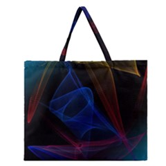 Lines Rays Background Light Pattern Zipper Large Tote Bag