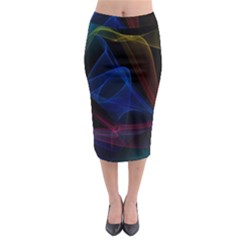 Lines Rays Background Light Pattern Midi Pencil Skirt