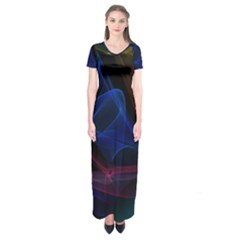 Lines Rays Background Light Pattern Short Sleeve Maxi Dress