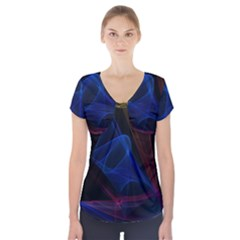 Lines Rays Background Light Pattern Short Sleeve Front Detail Top