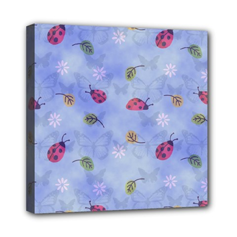 Ladybug Blue Nature Mini Canvas 8  x 8