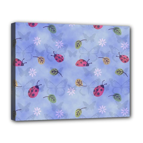 Ladybug Blue Nature Canvas 14  x 11