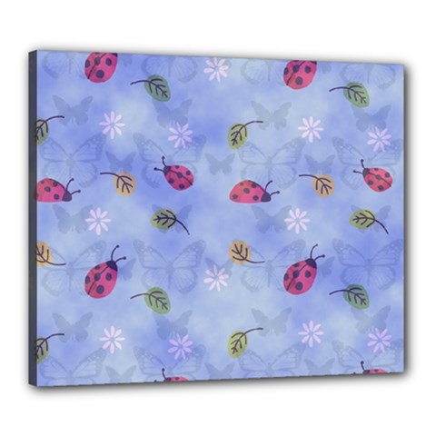 Ladybug Blue Nature Canvas 24  x 20