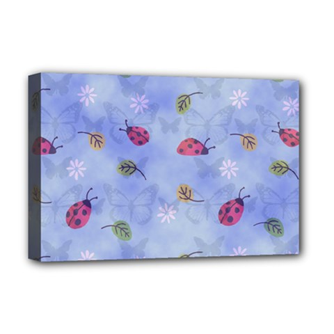 Ladybug Blue Nature Deluxe Canvas 18  x 12