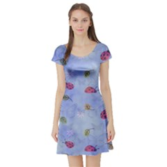 Ladybug Blue Nature Short Sleeve Skater Dress