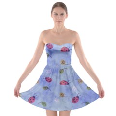 Ladybug Blue Nature Strapless Bra Top Dress