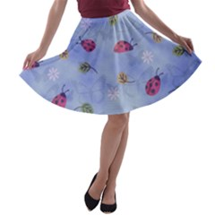 Ladybug Blue Nature A-line Skater Skirt