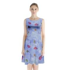 Ladybug Blue Nature Sleeveless Chiffon Waist Tie Dress
