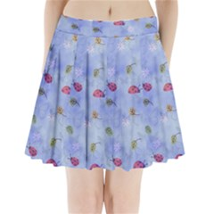 Ladybug Blue Nature Pleated Mini Skirt