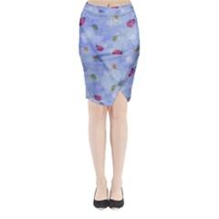Ladybug Blue Nature Midi Wrap Pencil Skirt