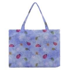 Ladybug Blue Nature Medium Zipper Tote Bag