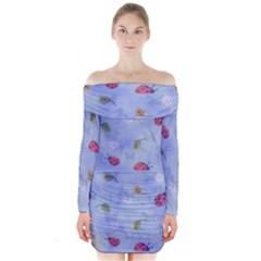 Ladybug Blue Nature Long Sleeve Off Shoulder Dress