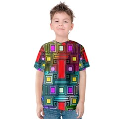 Art Rectangles Abstract Modern Art Kids  Cotton Tee