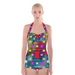 Art Rectangles Abstract Modern Art Boyleg Halter Swimsuit
